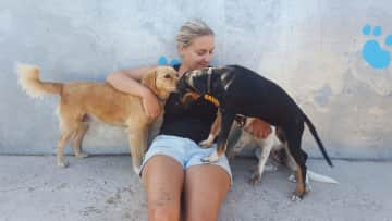 Break after a day of work at animal shelter - Kos Island, Greece