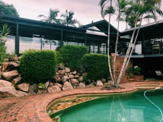 The house and pool.