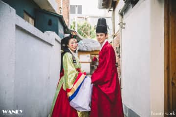 Us for our 2nd wedding anniversary. We celebrated with a traditional Korean wedding ceremony.