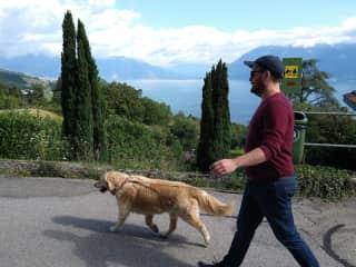 Bailey walking Allan..!