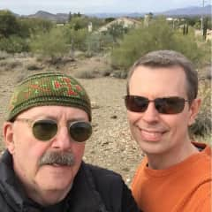 Neal (l) and Peter (r) enjoying a January hike in the nearby mountain preserve
