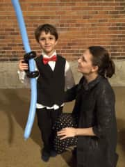My handsome son, the Balloon Jedi, at the Mother and Son church dance