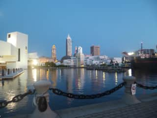 Cleveland waterfront--Science museum, Rock and Roll Hall of Fame