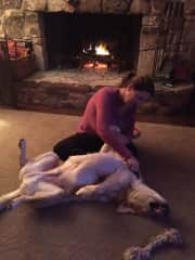 Me and my sweet Marley grooming by the fire