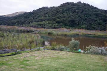 View from the garden, river and ranges
