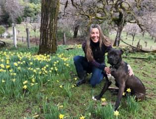 Grover and I enjoying a lush spring. Mendocino, CA