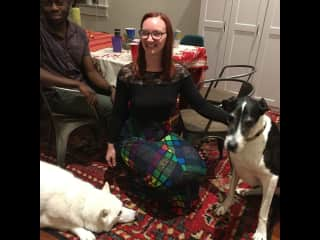 Rachel and Abiola looking after Beignet and Willow in New Orleans