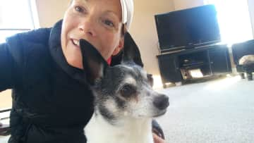 Me and Frankie, a Jack Russell who is getting up in years but still on the go!