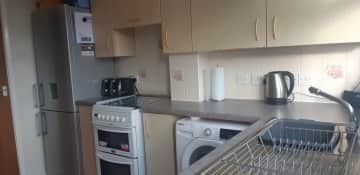 Our kitchen is small but has everything you will need for your stay, fridge, cooker, washing machine,  tumble dryer and microwave.