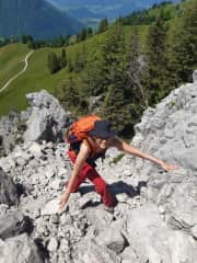 Climbing on Bleikigrat, June 2021