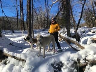 Snowshoeing in Vermont.