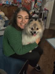 This is me and my best friend's dog Eevee