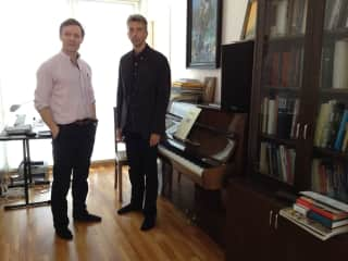 Estonian composer Erkki Sven Tuur and I at his home in Tallinn. I used some of Erkki music in my last film.