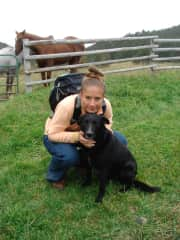 Posing with my favorite dog in the world (now passed) before moving cows