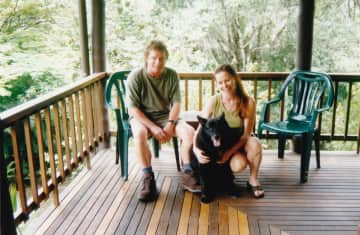 Younger us with our dog Toby