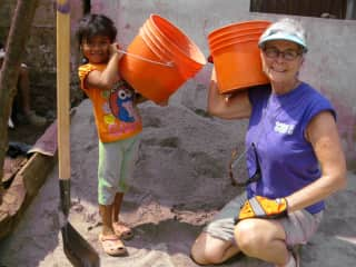 Lilly and I  building her house in  El Salvador
