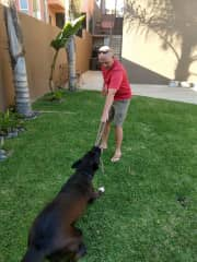 Playing with Brutus during our stay in Mexico