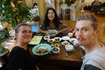 Us with our Friend at a Vegan Restaurant in Seoul, South Korea. We love trying out new foods and cuisines whenever we travel! :)