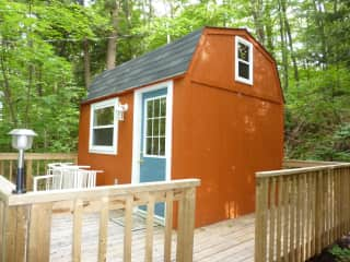 """This is the small """"bunkie"""" I built at my cottage for extra sleeping room."""