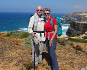 Leonie and Ross hiking near Odemira, Portugal