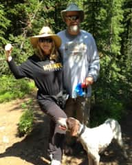 Hunter, the wonder dog, Dikki and Me hiking in Winter Park, CO.