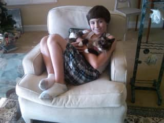 """My son when he was young with my parents' cat """"Yuki"""""""