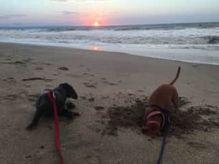 Lilly and Audrey on the beach in Crucita, Ecuador. I love walking on the beach.