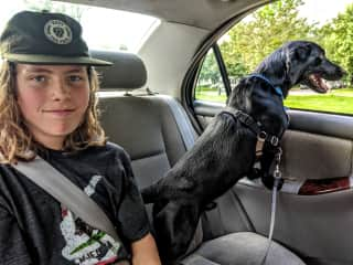 My son and I taking Bear for a drive