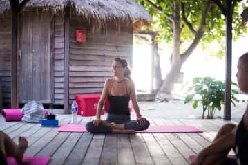 Annie teaching yoga
