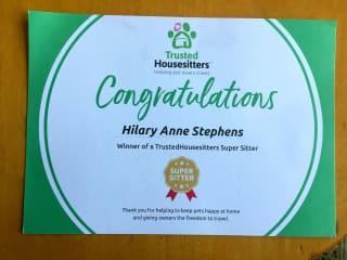 my TrustedHousesitters Super Sitter award