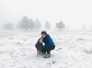 Michelle and Dulce on a snowy hike in Colorado.