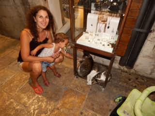 My wife and daughter with the cats in Montenegro