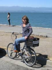 Katharina riding her bike