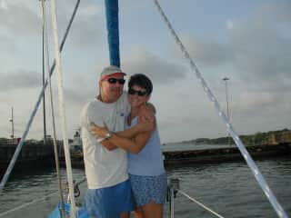 Transiting the Panama Canal on our 42 foot sailboat in 2004