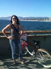 Venice Beach pier bike riding.