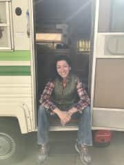 Me in my family's camper trailer in CA
