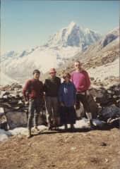 Ang Nima Sherpa, Bob, Melissa and Hans, 23 day trek in Mt. Everest region, 1988