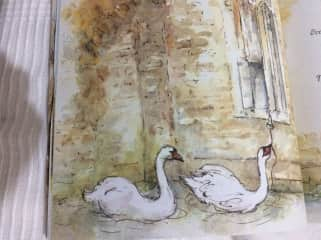 another painting from the book.  The swans we cared for