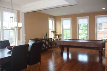 Formal dining room and pool table