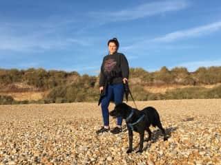 Tilly on the beach