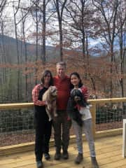 While on holiday in Asheville with our 2 dogs.