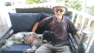 Zeke and Bob taking a break in Punta Gorda, FL.