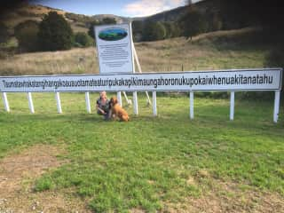 Snoop and me at the longest named place in New Zealand