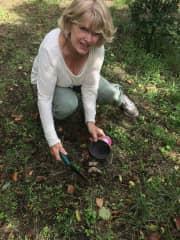 kathie rescuing hedgehog