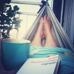 In summer I love my hammock on the balcony.