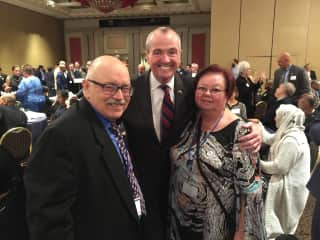 Me on left, standing next to Phil Murphy, candidate for Governor of New Jersey