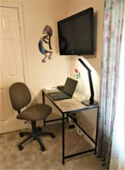 The desk in the guest room.