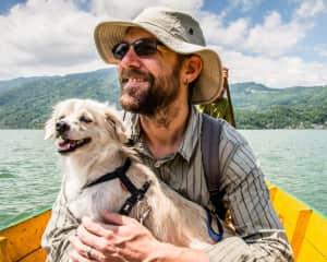 Wayne and Prudence in Pokhara enjoying a boat trip