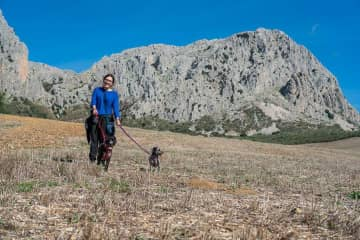 Brooke walking Nana & Dixon in rural Spain.