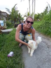 Bali, Indonesia - with a beautiful cat on the bike path